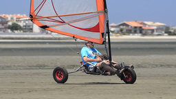 Francisco Costa on a windcar Stock Video Footage