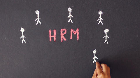 Human resource management chalk drawing Stock Video Footage
