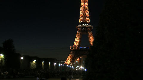 Eiffel tower time lapse slider at night fast Footage