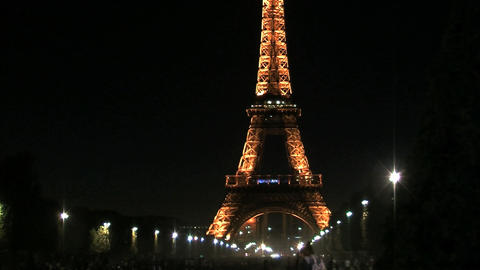 Eiffel tower time lapse slider at night Stock Video Footage