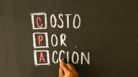 Cost Per Action Chalk Drawing stock footage