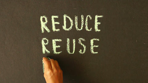 Reduce, Reuse, Recycle Chalk Drawing Stock Video Footage