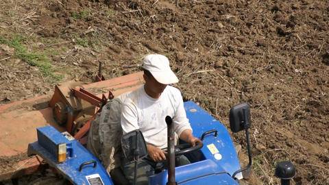 Cat-skinner on the tractor with a plough Stock Video Footage