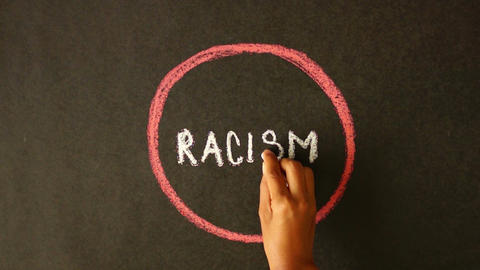 Against Racism Chalk Drawing stock footage