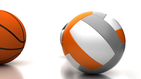 Football, Basketball and Volleyball Stock Video Footage