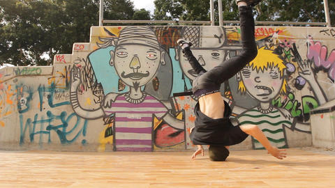 Urban Hip-hop Teenager dubstep dancer dancing breakdance bboy in action Footage