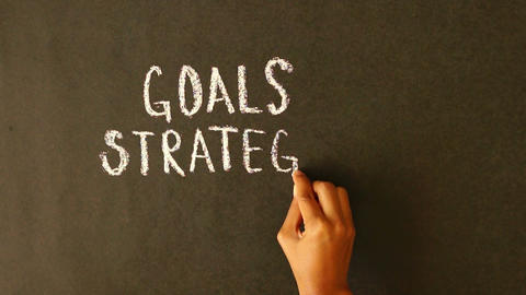 Goals, Strategy, Solutions chalk drawing Stock Video Footage