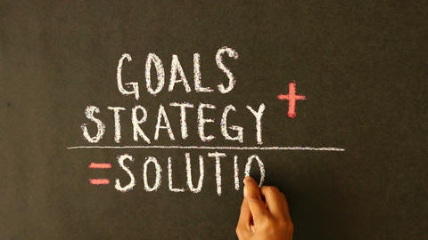 Goals, Strategy, Solutions chalk drawing Footage
