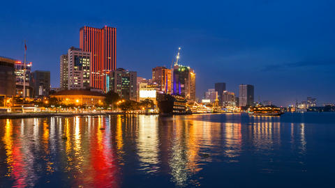 4k - SAIGON RIVER AT NIGHT - TIME LAPSE Stock Video Footage