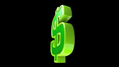 Dollar Sign Spinning with Alpha Loop Stock Video Footage