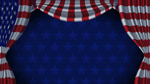 USA Flag Curtain Background Animation Loop With Alpha Animation