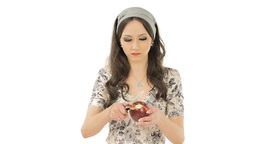 Brunette peeling an apple Stock Video Footage