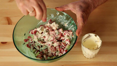 Making salad from onion and other vegetables 7c Stock Video Footage
