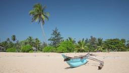 Boat on sandy beach Stock Video Footage