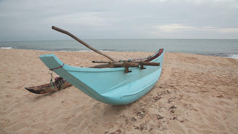 Boat on sandy beach Stock Video Footage