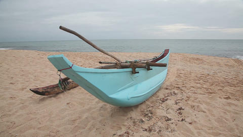 Boat on sandy beach Footage