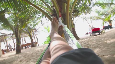 Men sleeping in hammok Stock Video Footage