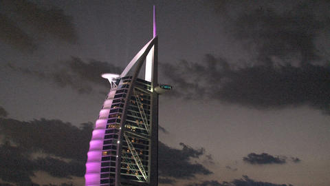 Burj al Arab hotel purple lights Stock Video Footage
