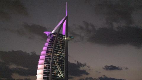 Burj al Arab hotel purple lights Footage