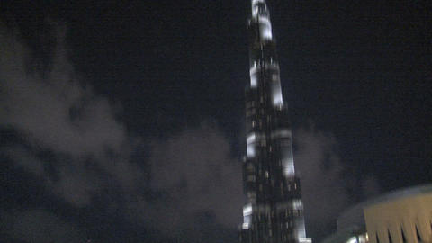 Burj khalifa tilt to water fountain Footage
