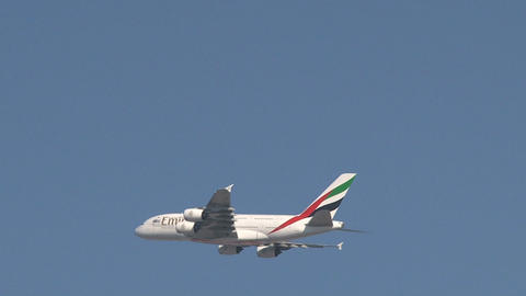 A380 Emirates Airplane Stock Video Footage