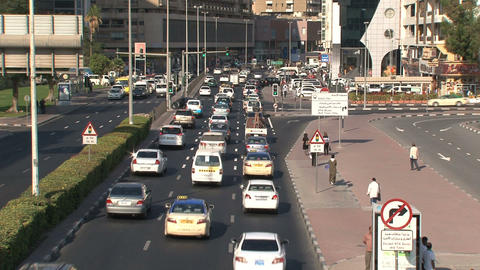 Downtown traffic in Dubai Stock Video Footage