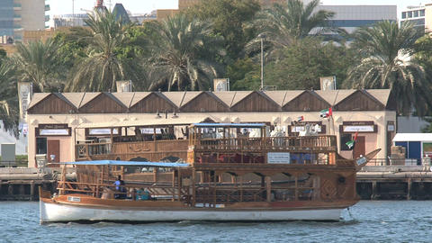 Boat passing by in Dubai harbor Stock Video Footage