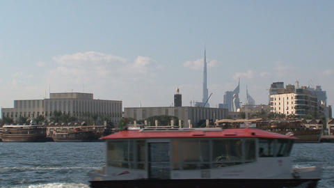 Ferry in Dubai harbor Stock Video Footage