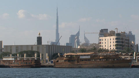 Harbor Dubai with the burj khalifa Stock Video Footage