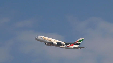 A380 Airplane taking off from Dubai aiport Stock Video Footage