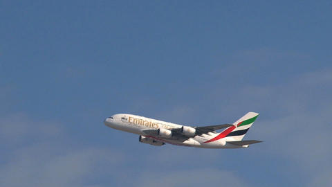 A380 Airplane taking off from Dubai aiport Footage