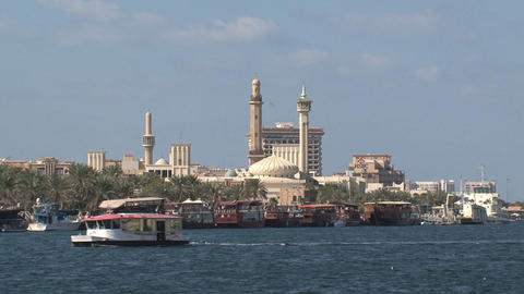 Ferry with the grand mosque at the background Footage