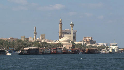 Ferry with the grand mosque at the background Stock Video Footage