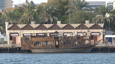 Traditional boat in harbor, Dubai Stock Video Footage