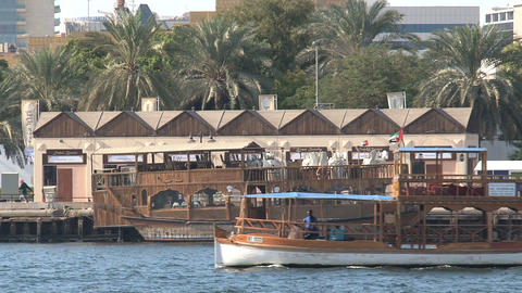 Traditional boat in harbor, Dubai Footage