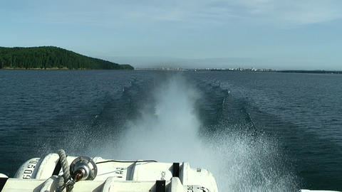 rapid moving hydrofoil vessel Stock Video Footage