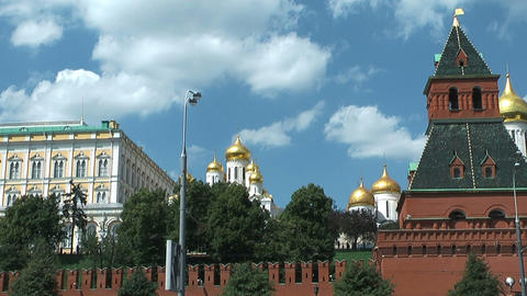 Passing Moscow Kremlin On Moskva stock footage