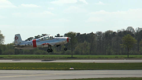 Private airplane Pilatus P2-05 taking off Stock Video Footage