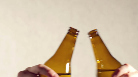 Toasting with beer, close up view Stock Video Footage