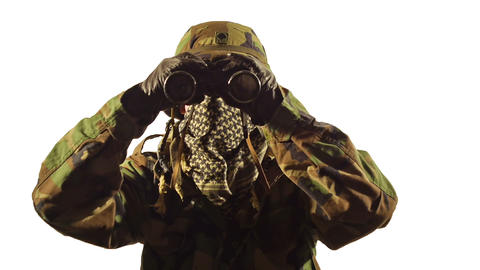 Soldier with binoculars on white background Stock Video Footage