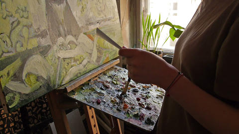 Woman painting picture Stock Video Footage