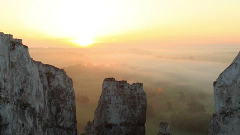 Timelapse sunrise in the mountains. Village... Stock Video Footage
