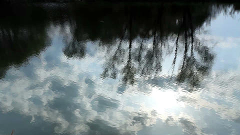 Reflection of clouds in the river Stock Video Footage