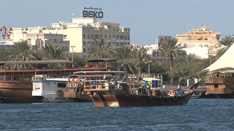 Traditional boats in harbor Dubai Footage