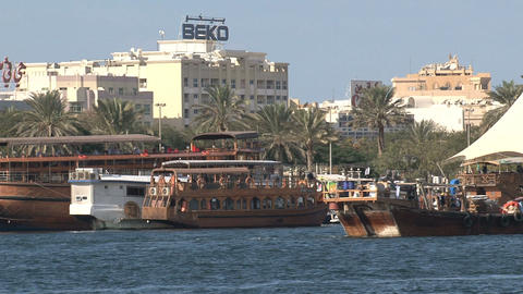 Traditional boats in harbor Dubai Stock Video Footage