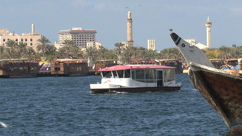 Harbor and Grand Mosque in Dubai Stock Video Footage
