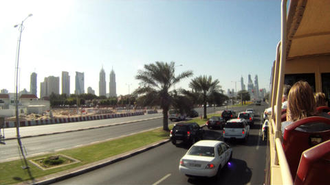 Bus tour Dubai time lapse Stock Video Footage
