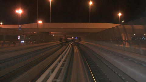 Metro train driving through Dubai Footage