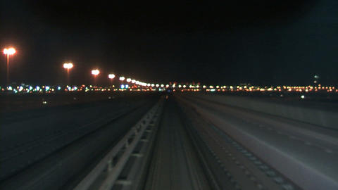 Dubai metro at night Stock Video Footage