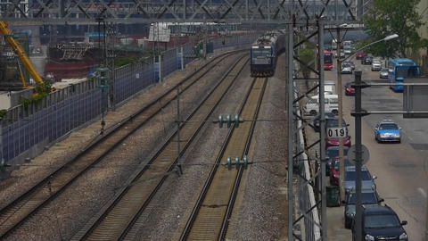 overlook train slowly passing,intercity traffic in china Stock Video Footage